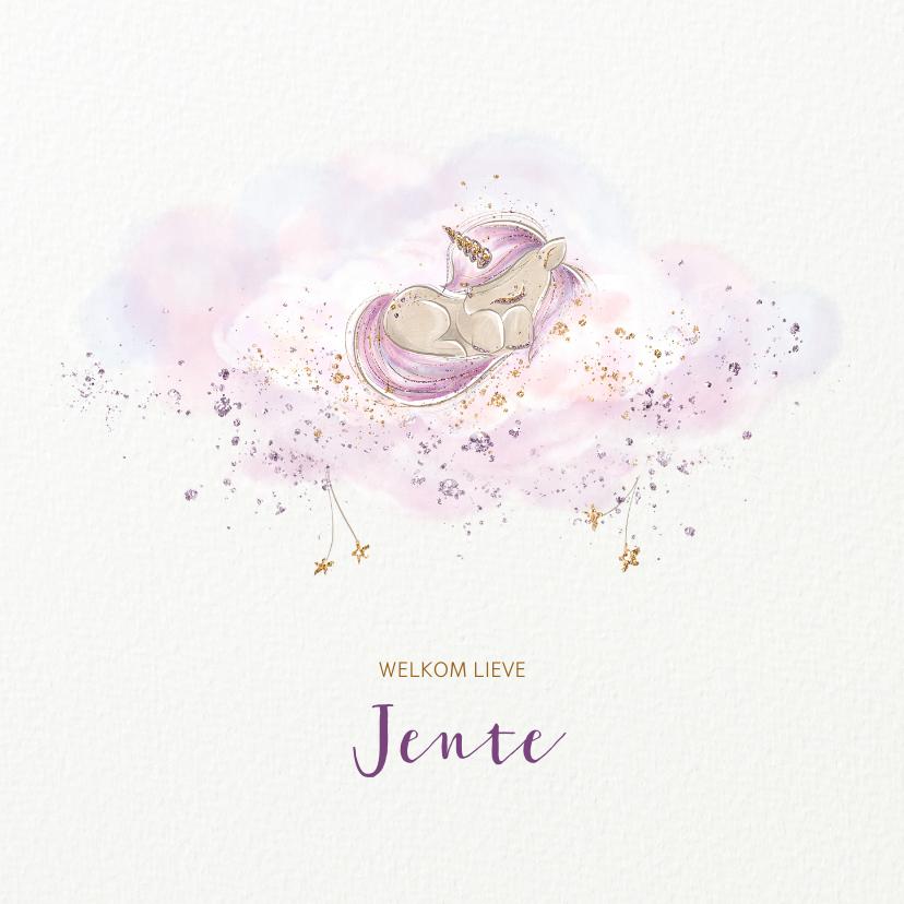 Geboortekaartjes - Geboortekaart meisje eenhoorn