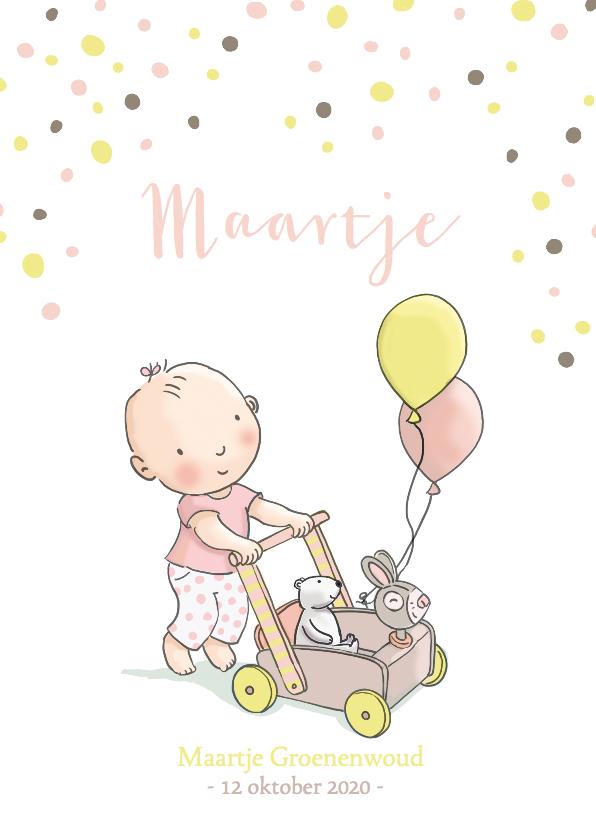 Geboortekaartjes - Geboortekaart meisje loopkar av