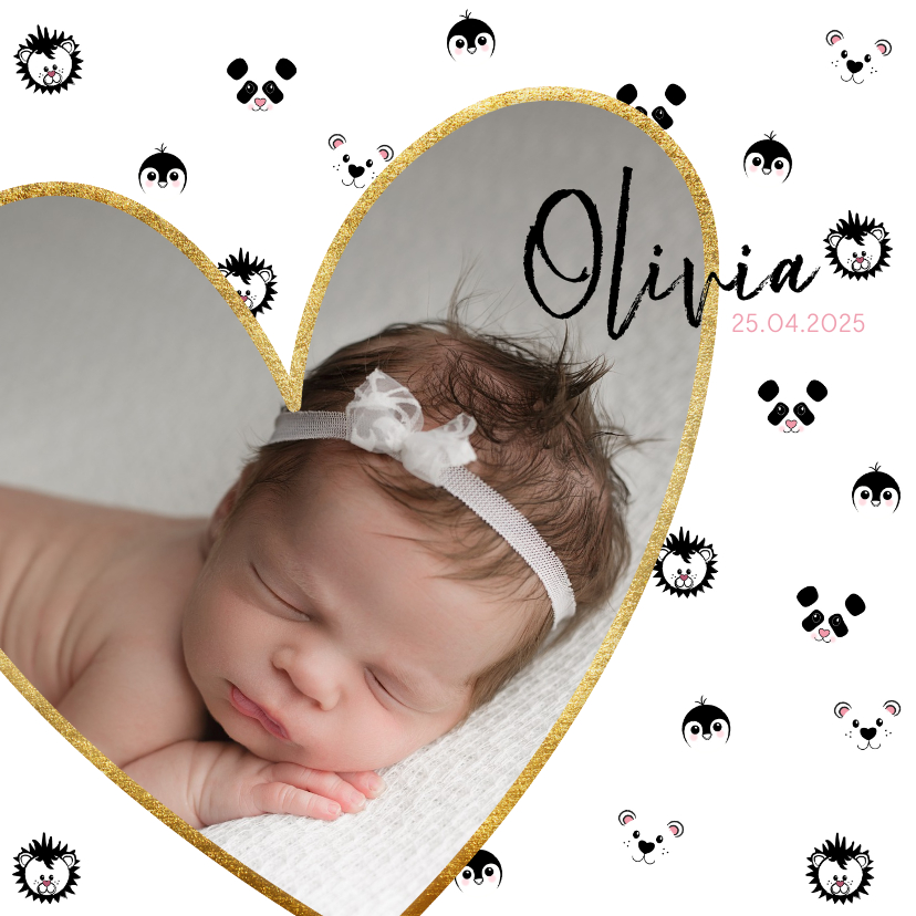 Geboortekaartjes - Geboortekaart meisje met foto en zwart-wit dieren patroon