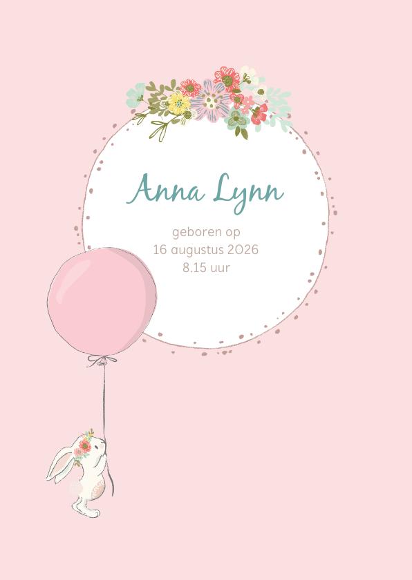 Geboortekaartjes - Geboortekaart meisje met konijn, ballon en bloemen