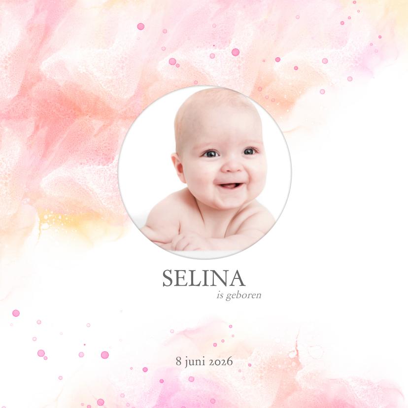 Geboortekaartjes - Geboortekaart meisje waterverf met druppels