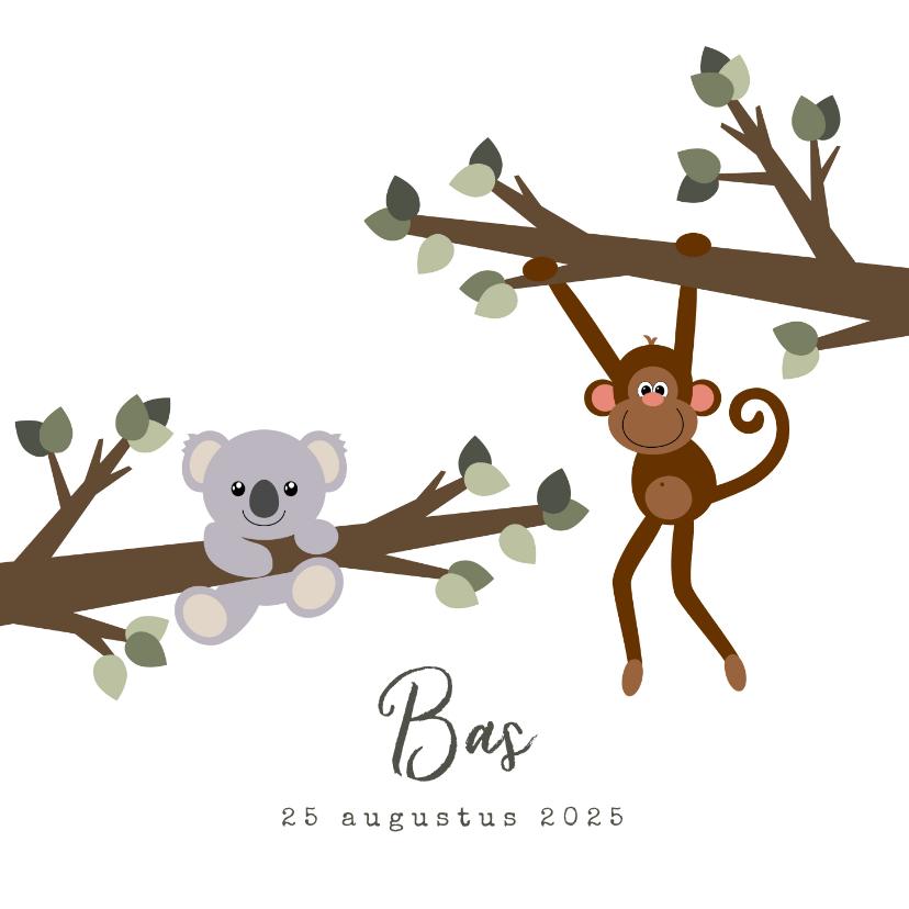 Geboortekaartjes - Geboortekaart met een lief ontwerp van een aapje en koala