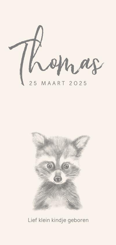 Geboortekaartjes - Geboortekaart met een potloodtekening van een wasbeertje