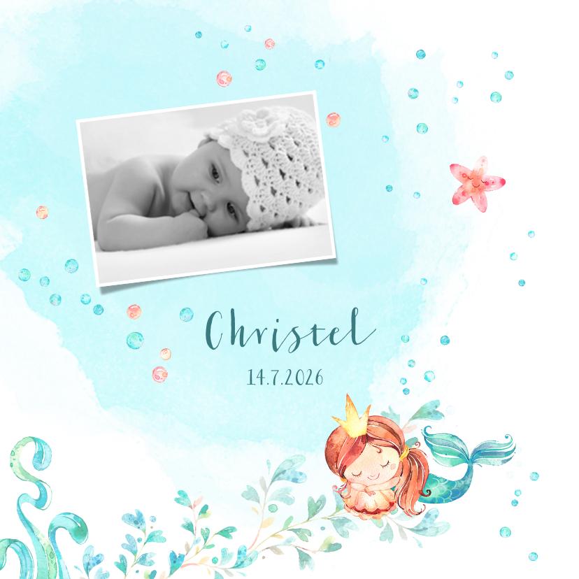 Geboortekaartjes - Geboortekaart met een slapende zeemeermin in waterverf look