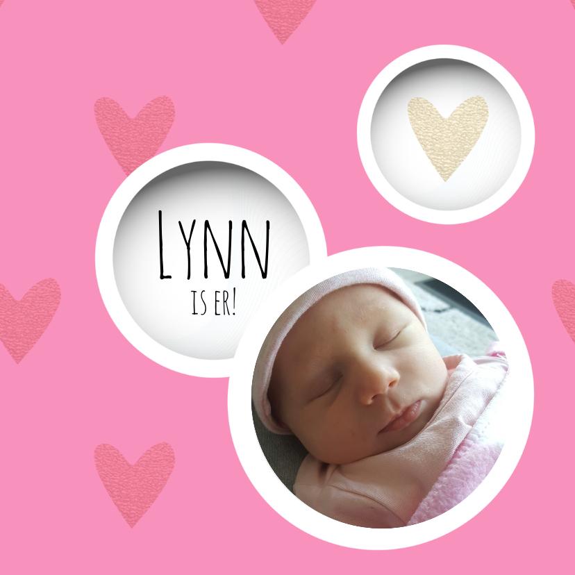 Geboortekaartjes - Lieve geboortekaart met foto cirkels en hartjes roze