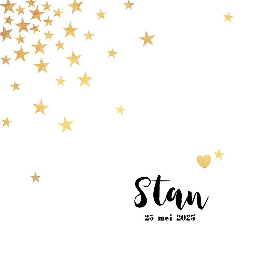 Geboortekaartjes - Geboortekaart met goudkleurige sterren en een hartje