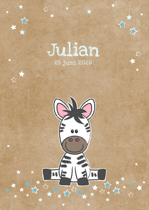 Geboortekaartjes - Geboortekaart met lieve zebra kraft-stijl