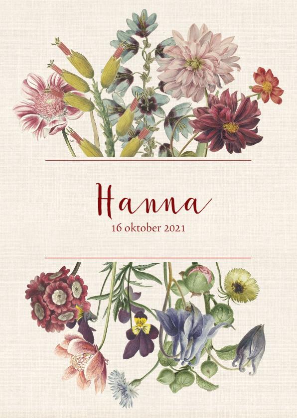 Geboortekaartjes - Geboortekaart met pastelkleurige vintage bloemen
