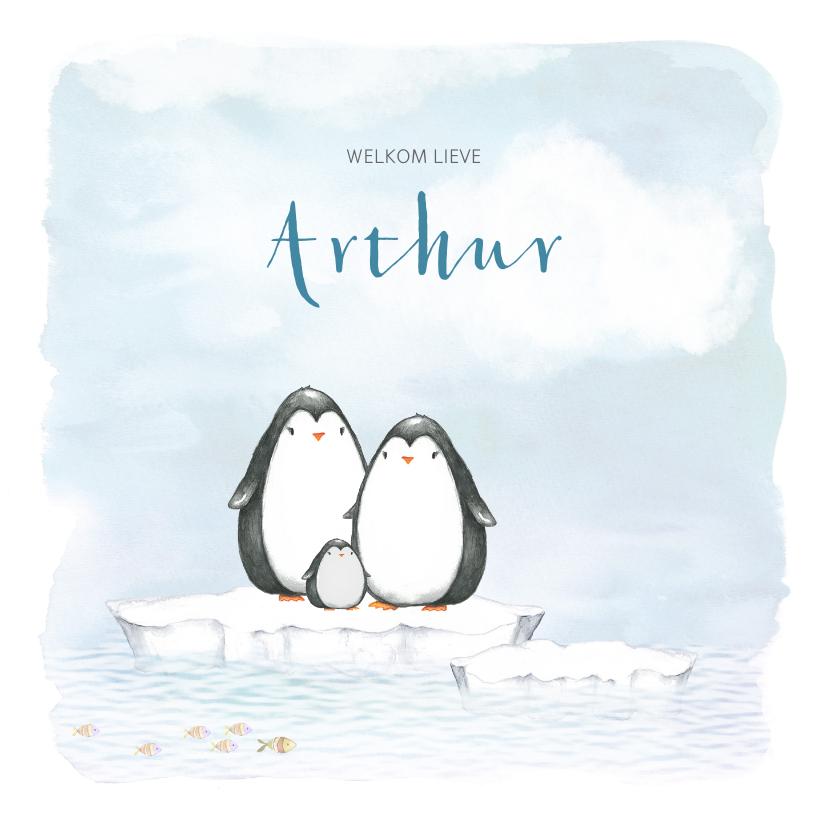 Geboortekaartjes - Geboortekaart met pinguin op ijsschots