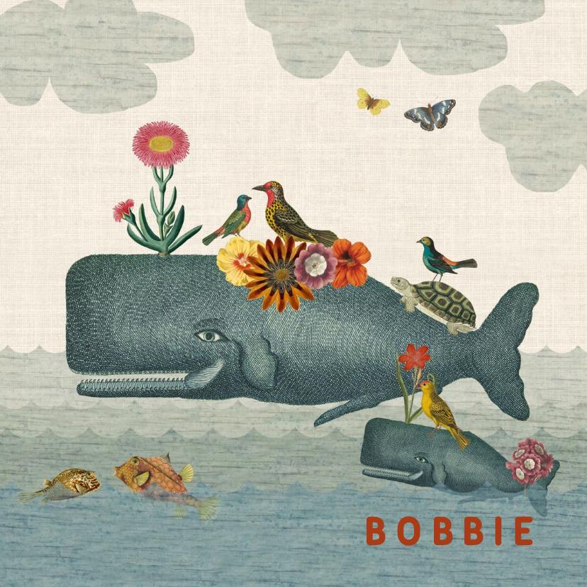 Geboortekaartjes - Geboortekaart met walvis, andere dieren en bloemen
