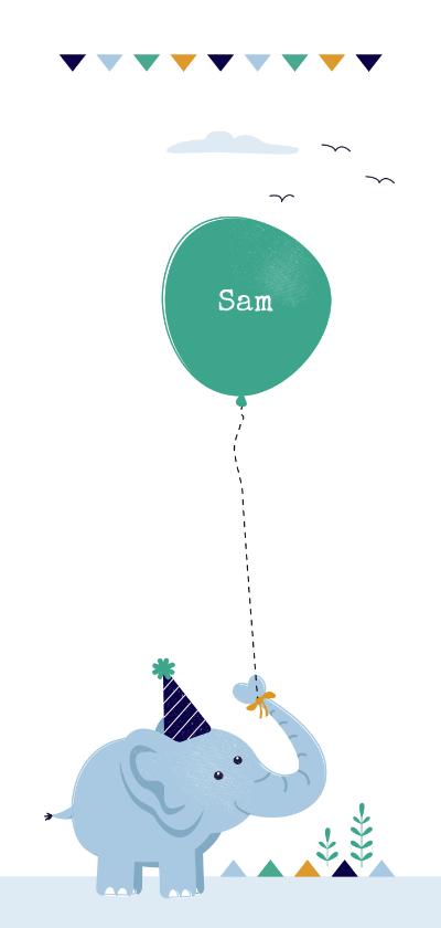 Geboortekaartjes - Geboortekaart olifant met groene ballon