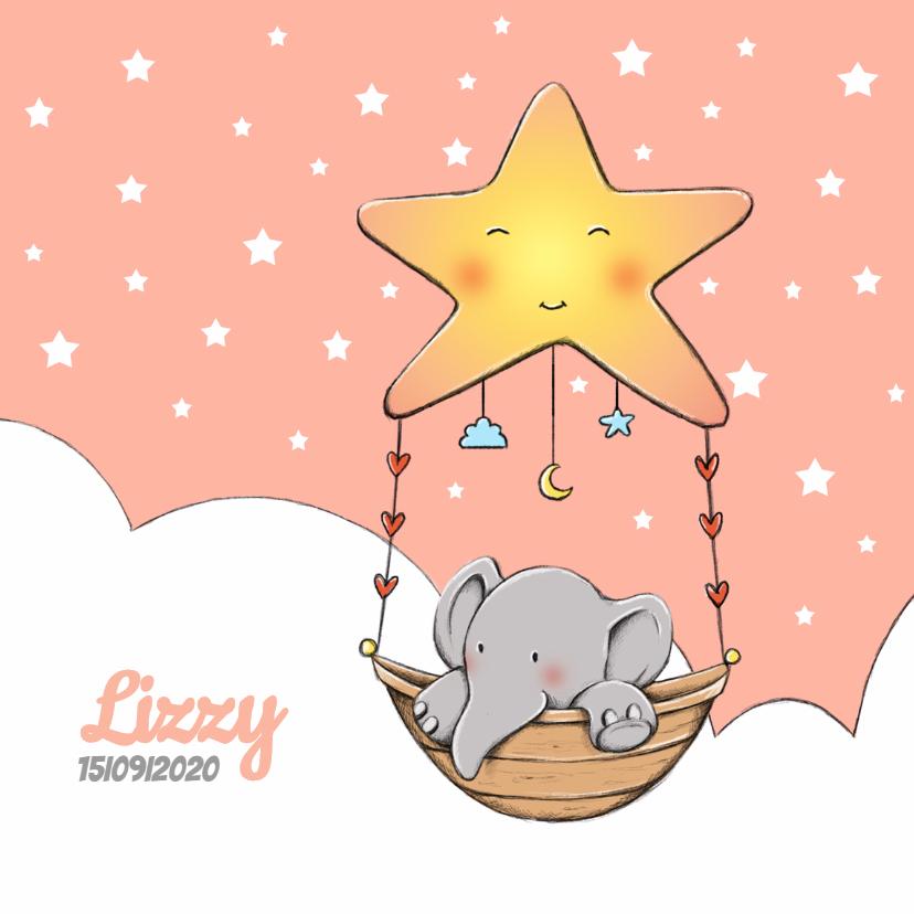 Geboortekaartjes - Geboortekaart olifantje Lizzy IH