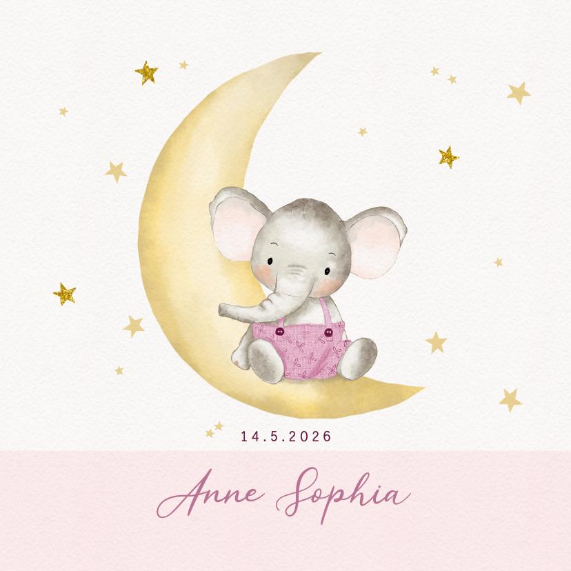 Geboortekaartjes - Geboortekaart olifantje op maan met sterren-meisje