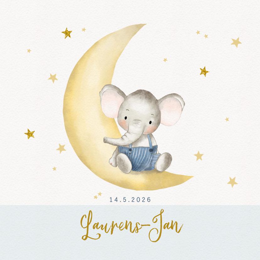 Geboortekaartjes - Geboortekaart olifantje op maantje met sterren-jongen
