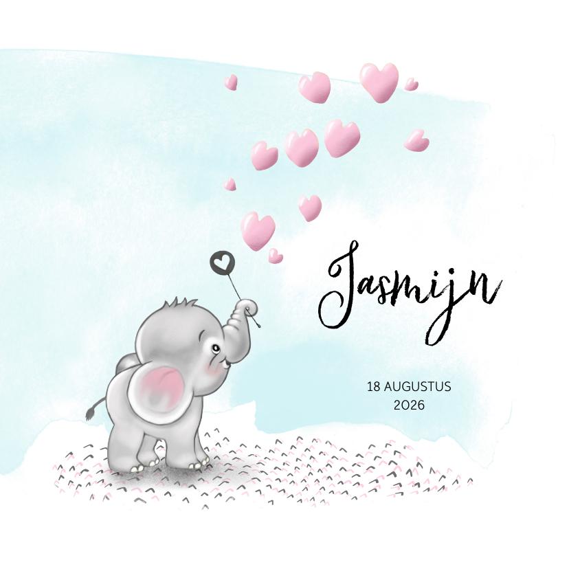 Geboortekaartjes - Geboortekaart olifantje roze bellenblaas