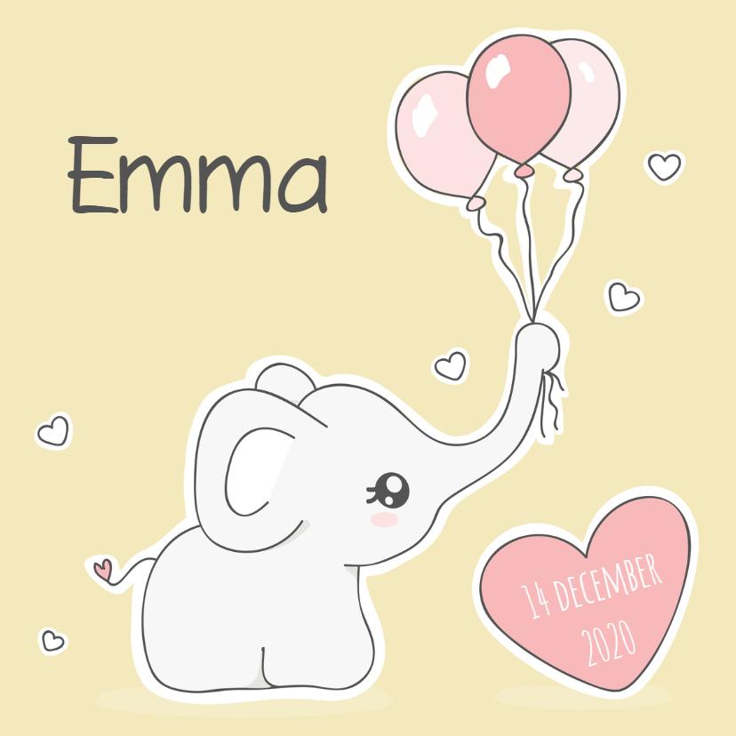 Geboortekaartjes - Geboortekaart - olifantje roze