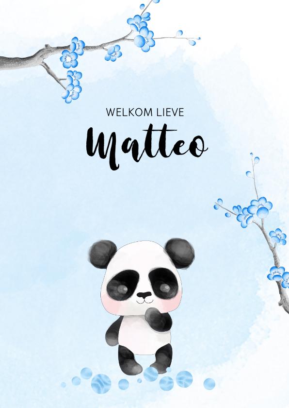Geboortekaartjes - Geboortekaart panda met kersenbloesem -jongen-