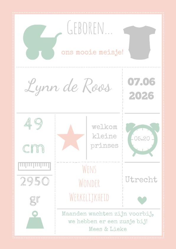 Geboortekaartjes - Geboortekaart roze typografie-BC
