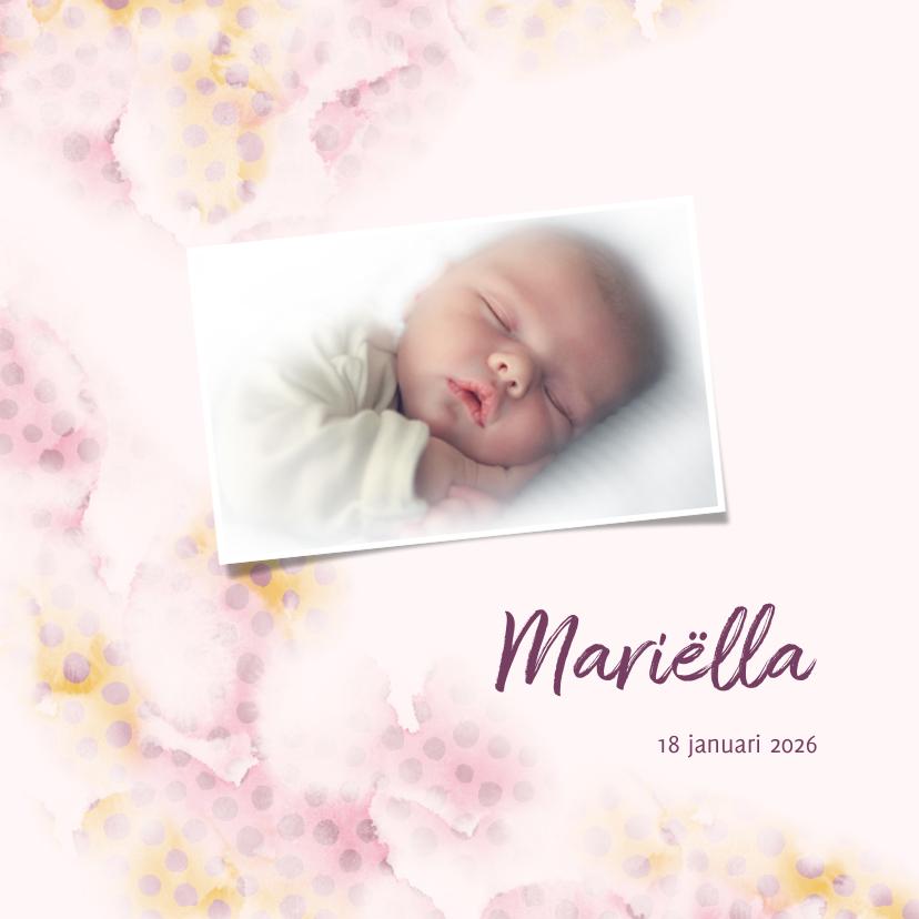 Geboortekaartjes - Geboortekaart roze/zalm met stippen en eigen foto