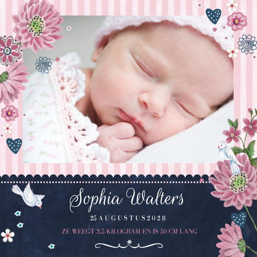 Geboortekaartjes - Geboortekaart Schoolbord bloemen