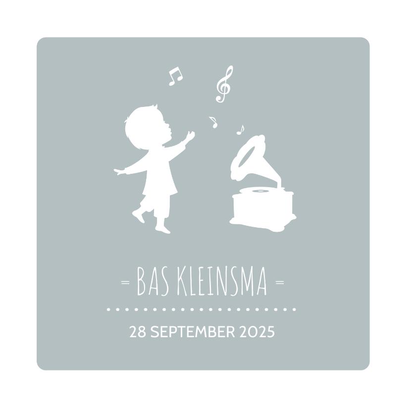Geboortekaartjes - Geboortekaart Silhouet Muziek