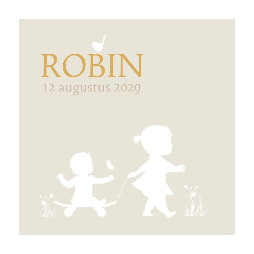 Geboortekaartjes - Geboortekaart silhouet skate zusje