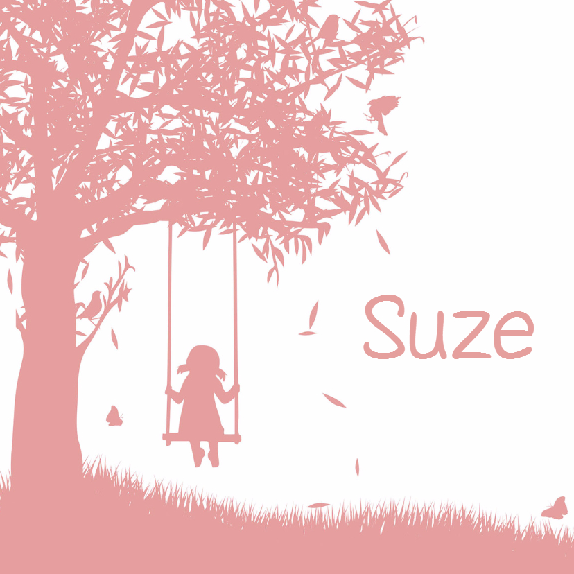 Geboortekaartjes - Geboortekaart silhouette meisje