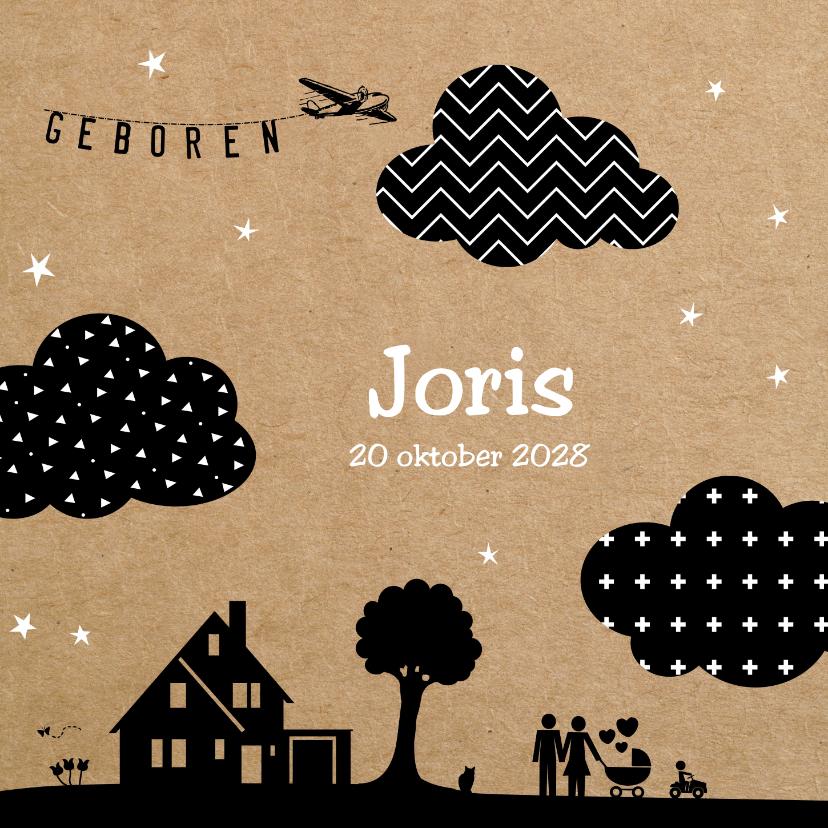 Geboortekaartjes - Geboortekaart silhouette  met moderne wolken