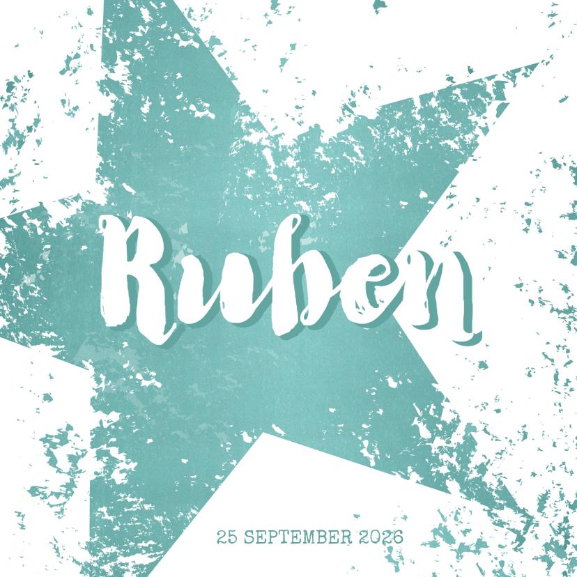 Geboortekaartjes - Geboortekaart stoer kaartje met grote ster