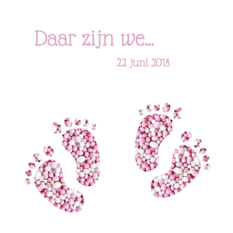 Geboortekaartjes - Geboortekaart tweeling voetjes meisjes