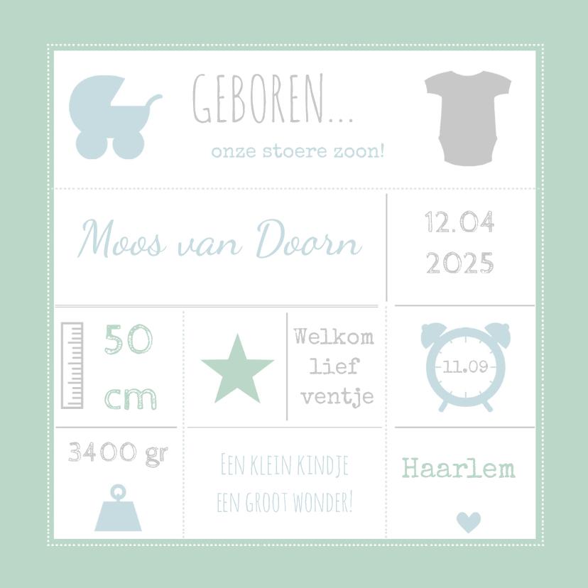 Geboortekaartjes - Geboortekaart typografie mint-BC