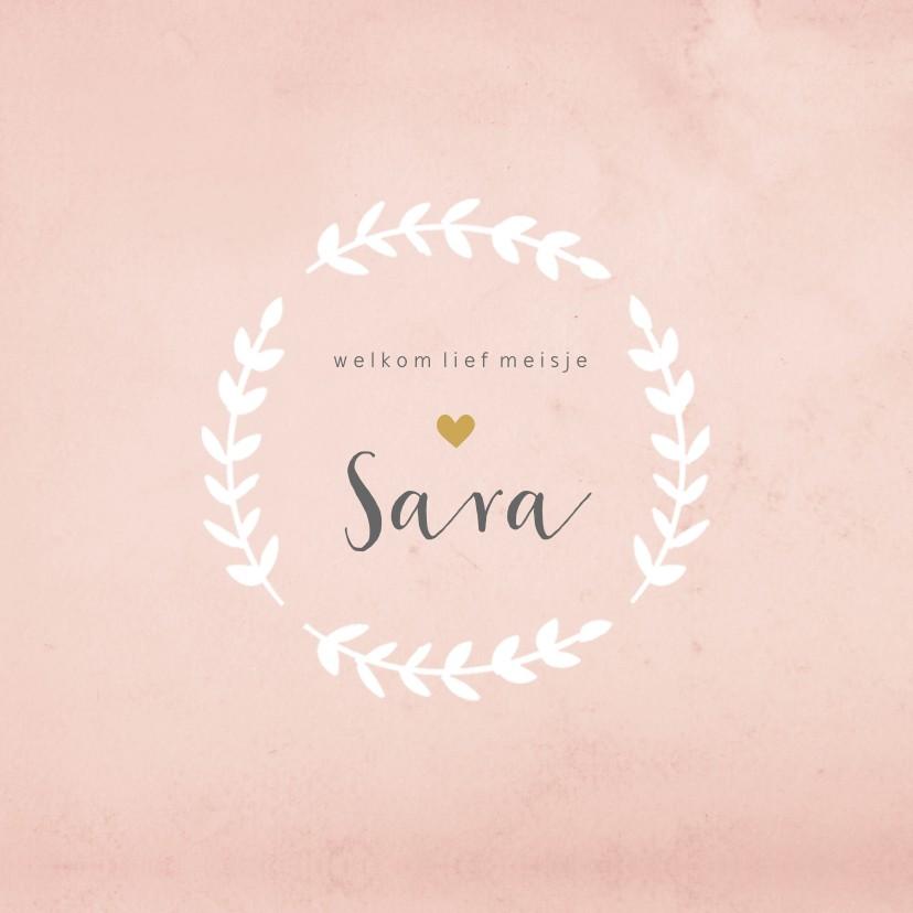 Geboortekaartjes - Geboortekaart vierkant rozet aquarel roze - BC