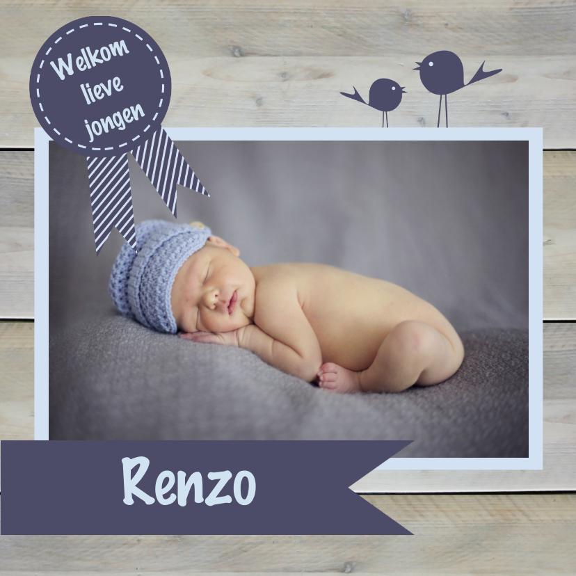 Geboortekaartjes - Geboortekaart vlag foto blauw