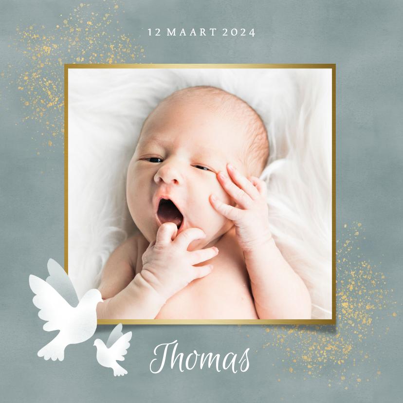 Geboortekaartjes - Geboortekaart voor jongen met duifjes, waterverf en spetters