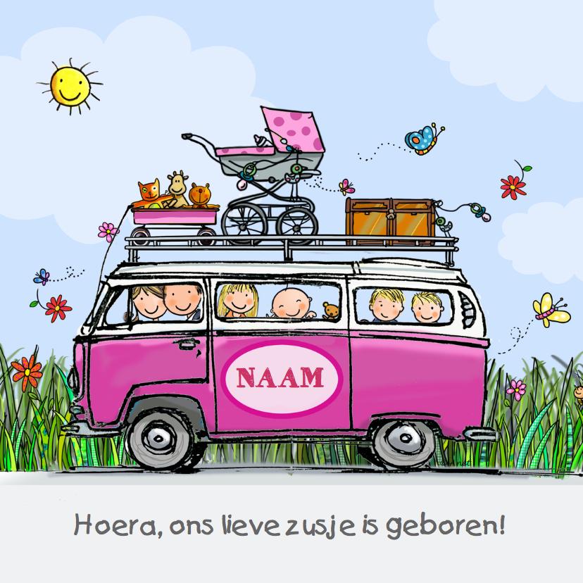 Geboortekaartjes - Geboortekaart VW bus babyzusje klant