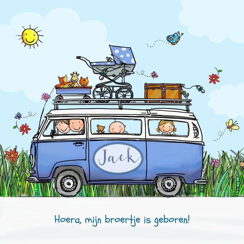 Geboortekaartjes - Geboortekaart VW bus blauw met zus