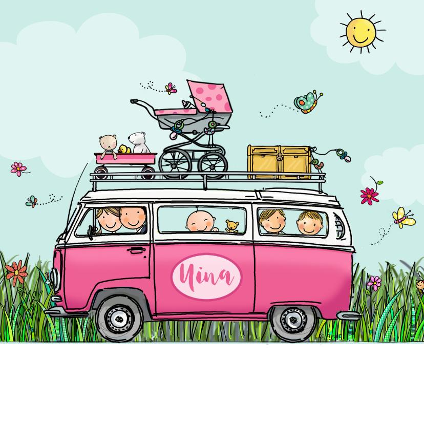 Geboortekaartjes - Geboortekaart VW bus roze hart twee broertjes