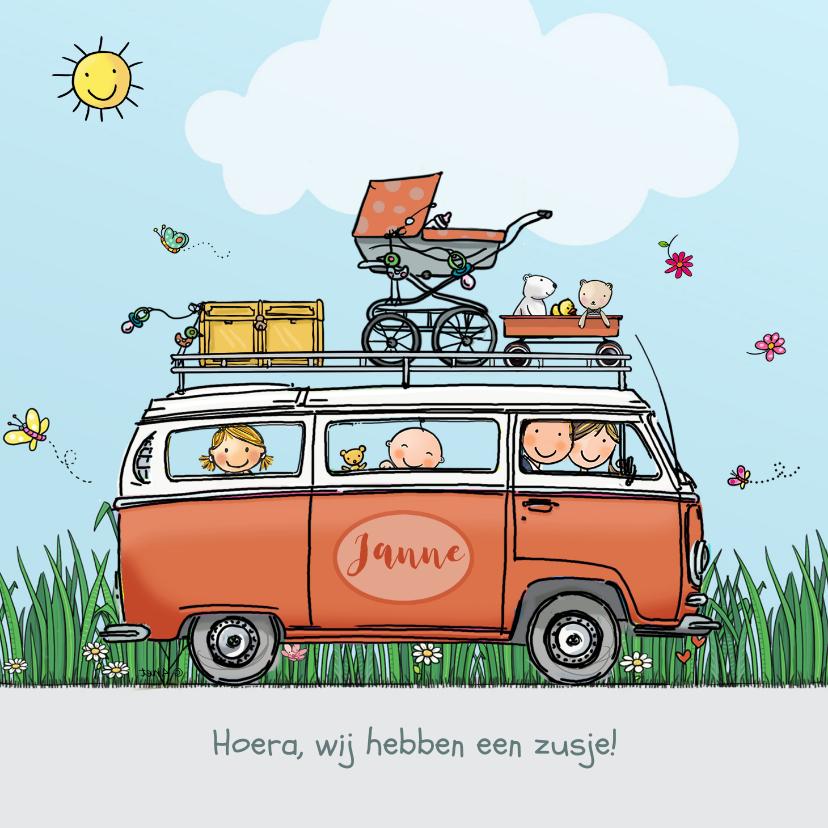 Geboortekaartjes - Geboortekaart VW bus roze met zus