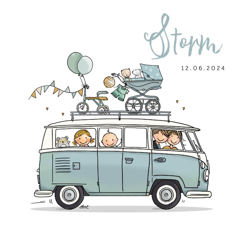 Geboortekaartjes - Geboortekaart VW bus T1 blauw zusje