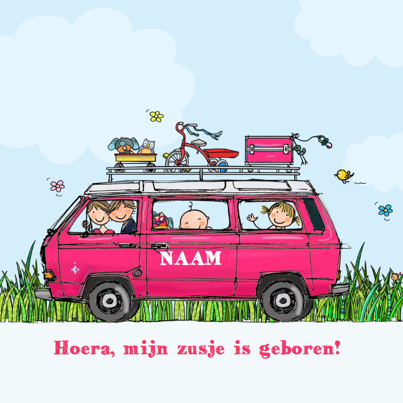 Geboortekaartjes - Geboortekaart VW T3 Joker roze