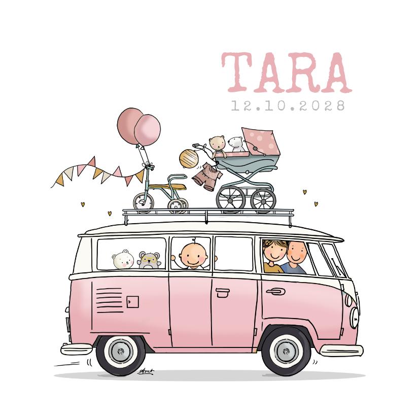 Geboortekaartjes - Geboortekaart VWbusje roze av