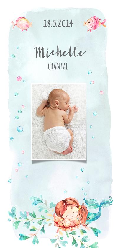 Geboortekaartjes - Geboortekaart zeemeermin en vissen