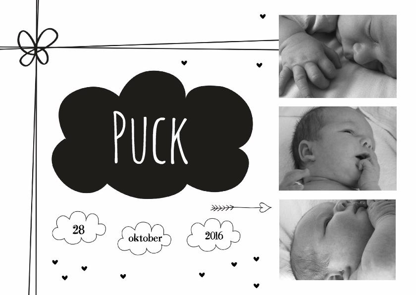 Geboortekaartjes - Geboortekaart zwart wolkje foto