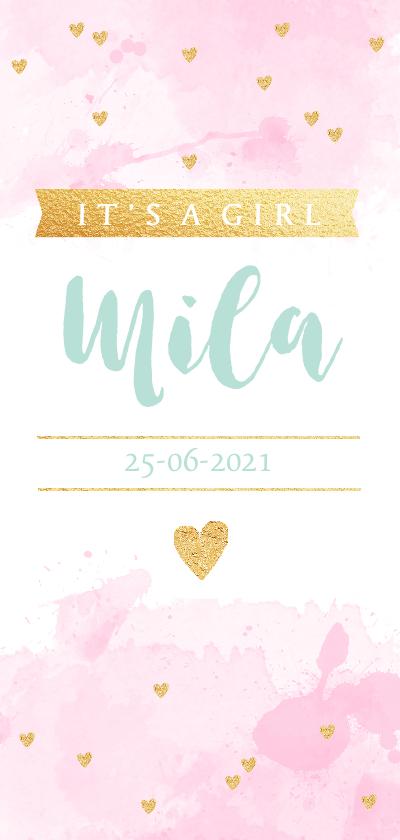 Geboortekaartjes - Geboortekaarte langwerpig aquarel hartjes roze