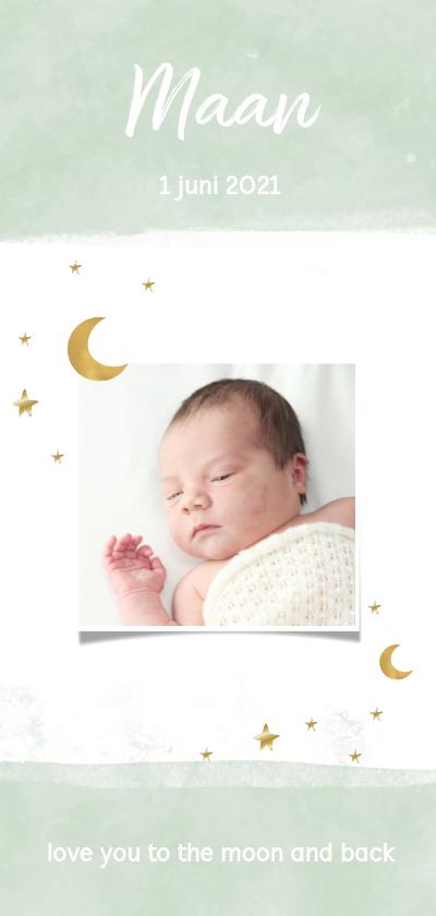 Geboortekaartjes - Geboortekaarte mint met maan en sterren