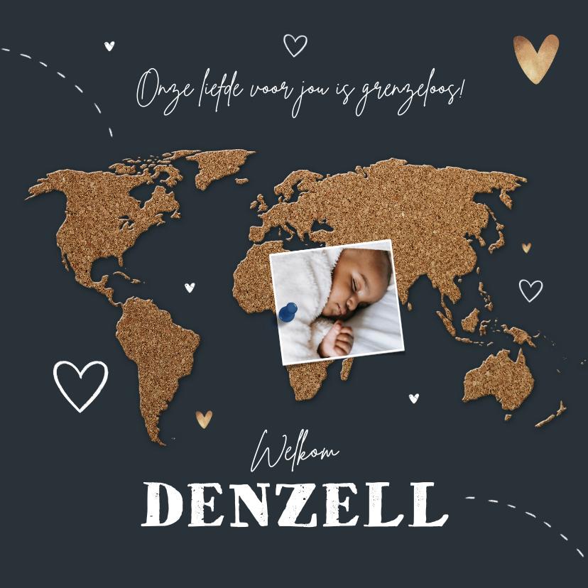 Geboortekaartjes - Geboortekaartje adoptie wereldkaart kurk collage hartjes
