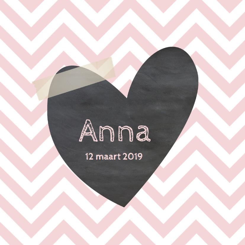 Geboortekaartjes - Geboortekaartje Anne chevron roze- LO