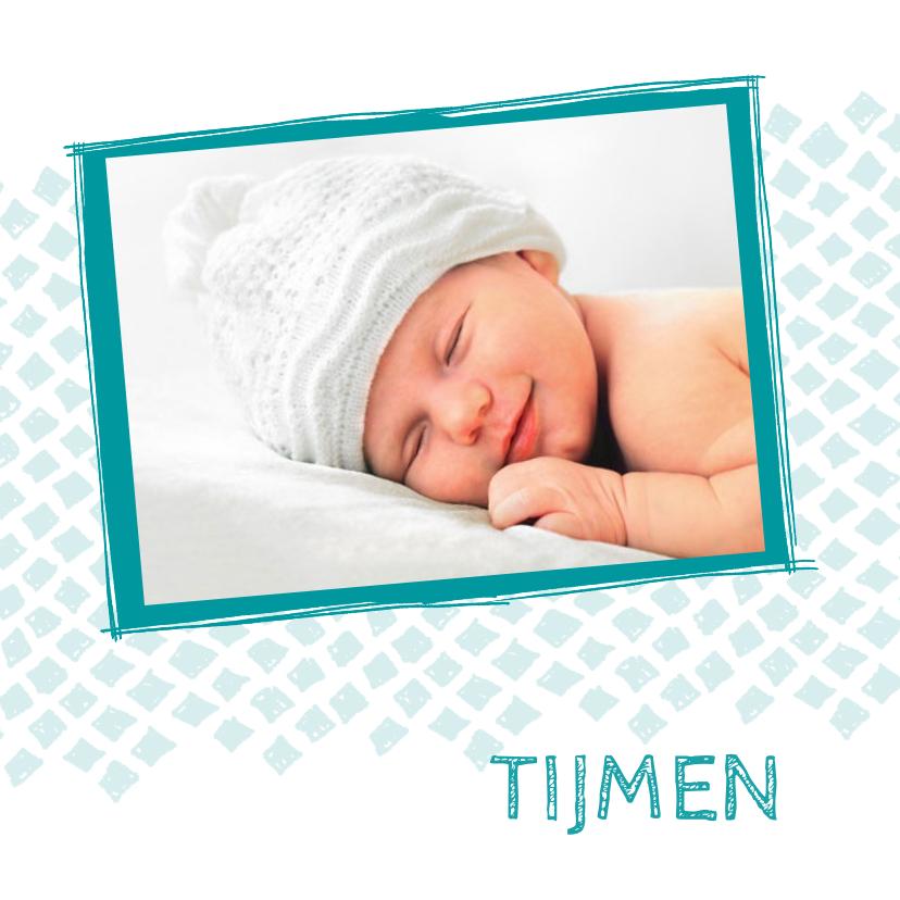 Geboortekaartjes - Geboortekaartje aqua ruitjes