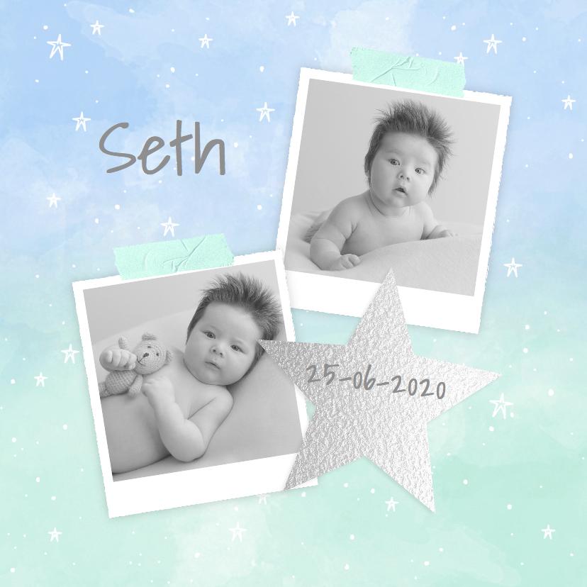 Geboortekaartjes - Geboortekaartje aquarel foto's ster jongen