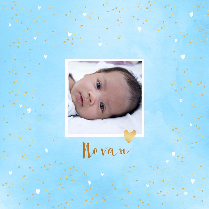 Geboortekaartjes - Geboortekaartje aquarel hartjes foto blauw